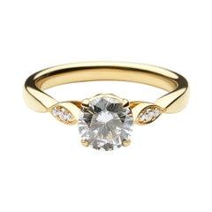 14k Yellow Gold Diamond Engagement Ring with 1.01 Carat Round Cut Diamond