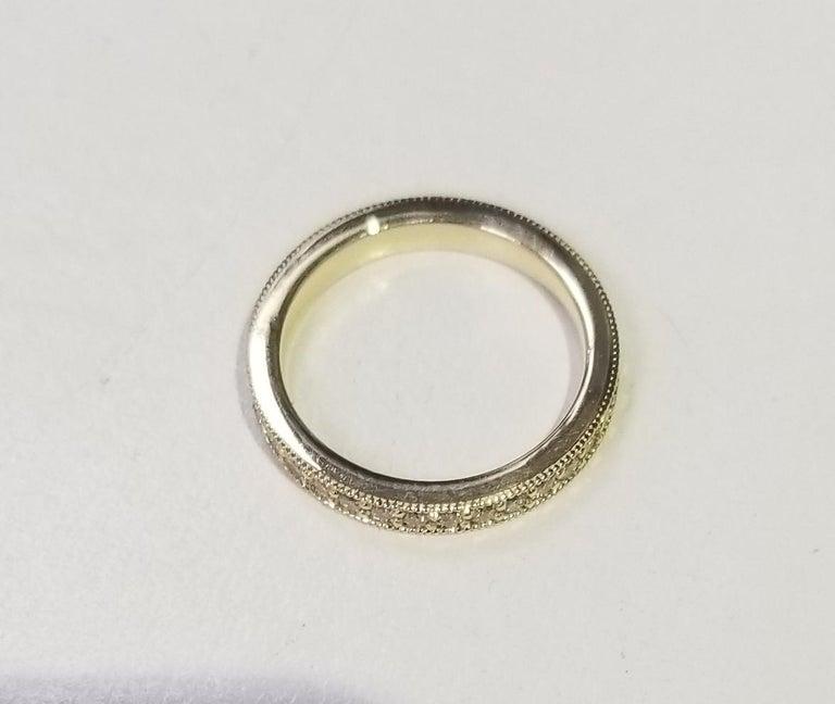 Contemporary 14 Karat Yellow Gold Diamond Eternity Ring with Milgrain For Sale
