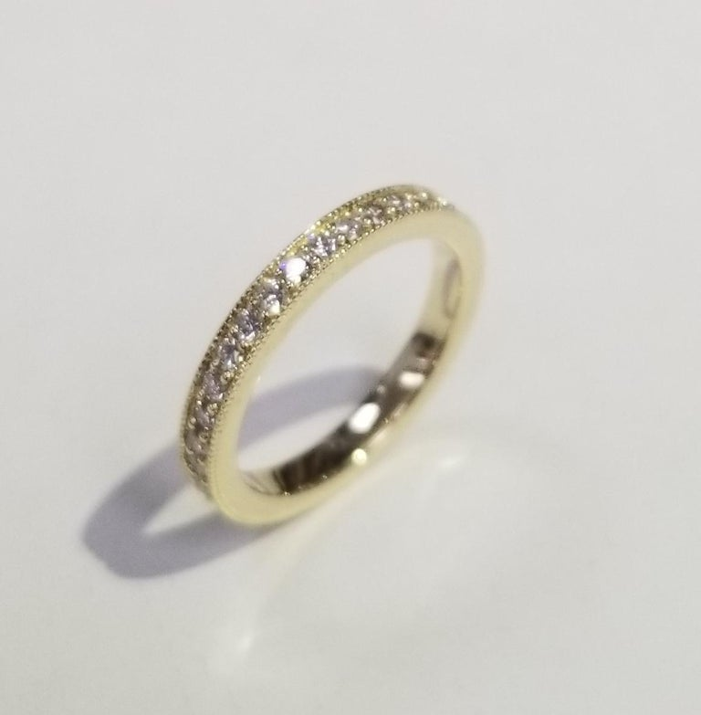 Round Cut 14 Karat Yellow Gold Diamond Eternity Ring with Milgrain For Sale
