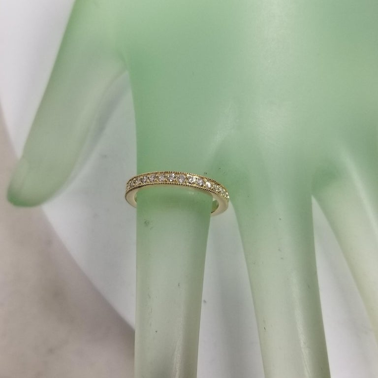 14 Karat Yellow Gold Diamond Eternity Ring with Milgrain In New Condition For Sale In Los Angeles, CA