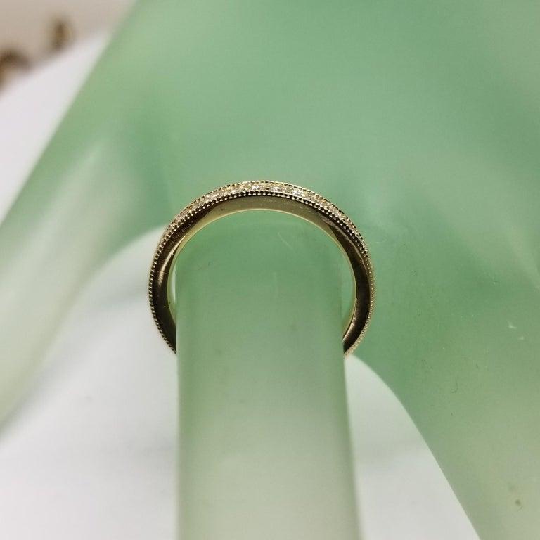 Women's or Men's 14 Karat Yellow Gold Diamond Eternity Ring with Milgrain For Sale