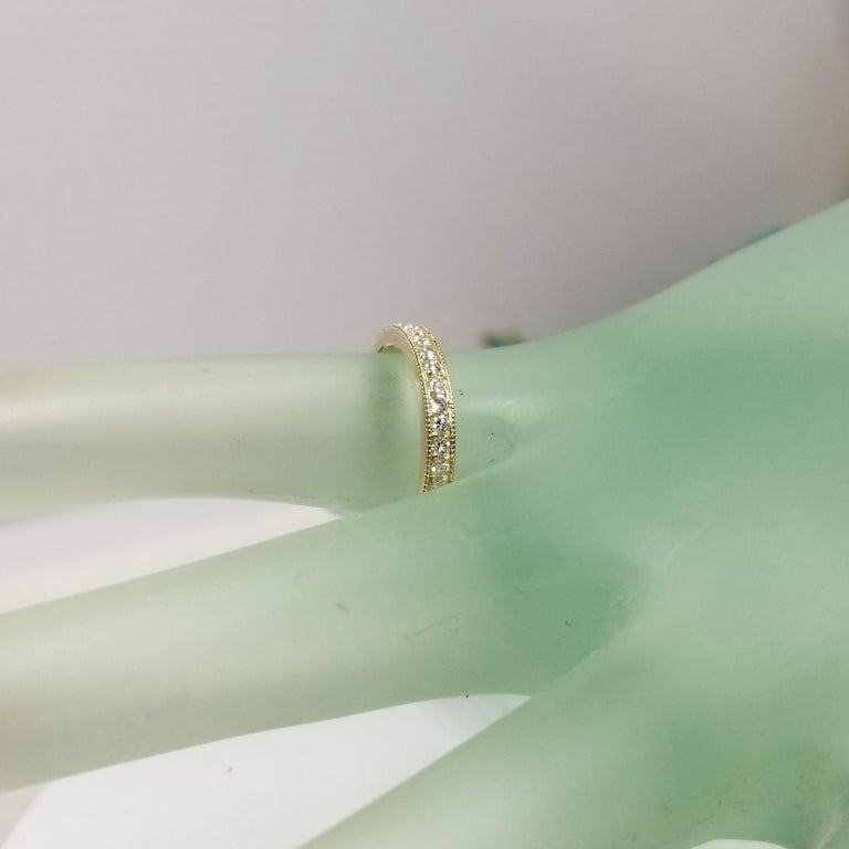14 Karat Yellow Gold Diamond Eternity Ring with Milgrain For Sale 1