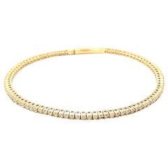 14K Yellow Gold Diamond Flexible Bangle
