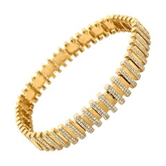 14K Yellow Gold Diamond Geometric Line Bracelet