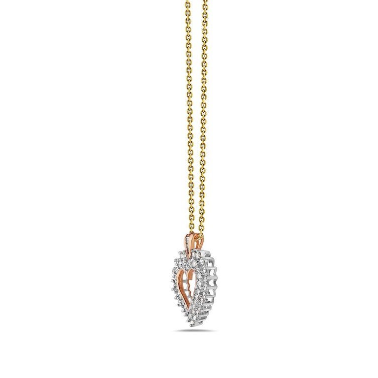 Round Cut 14 Karat Yellow Gold Diamond Heart Pendant For Sale