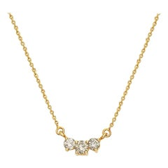 14 Karat Yellow Gold Diamond Hoizontal Pendant Necklace