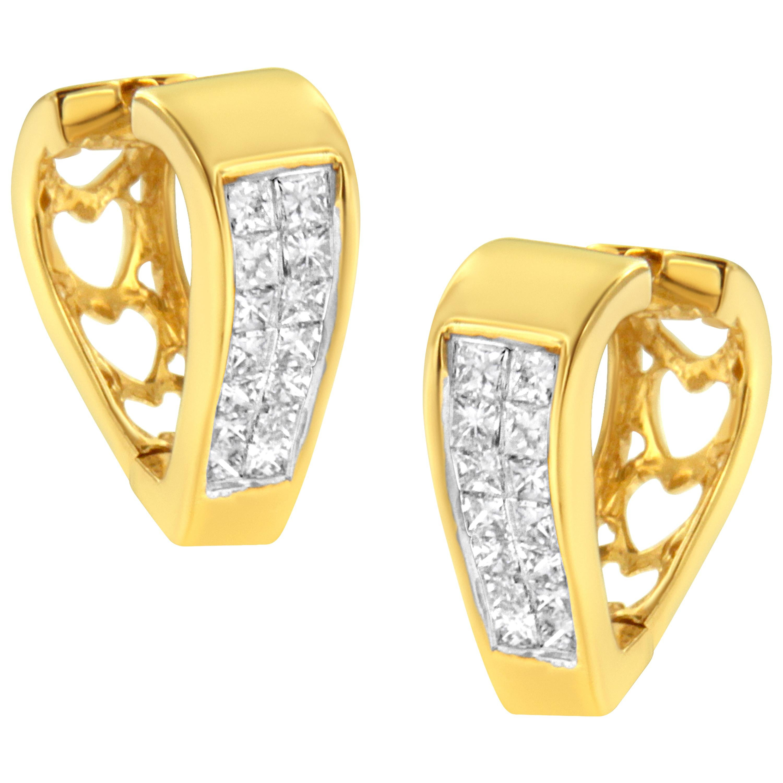 14k Yellow Gold 0.5 Carat Diamond Hoop Huggy Earrings