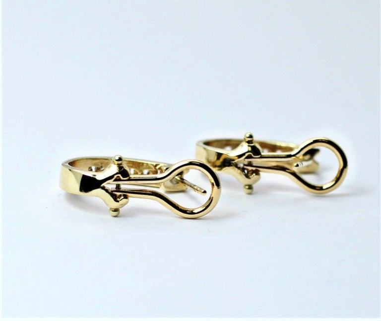 14 Karat Yellow Gold Diamond Huggy Earrings In Excellent Condition For Sale In Los Angeles, CA