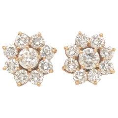 14k Yellow Gold Diamond Jacket and Stud Earrings