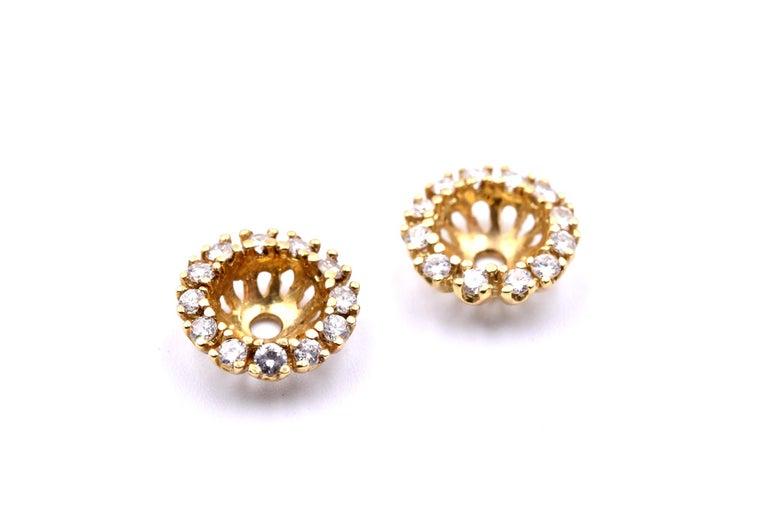 Round Cut 14 Karat Yellow Gold Diamond Jackets For Sale