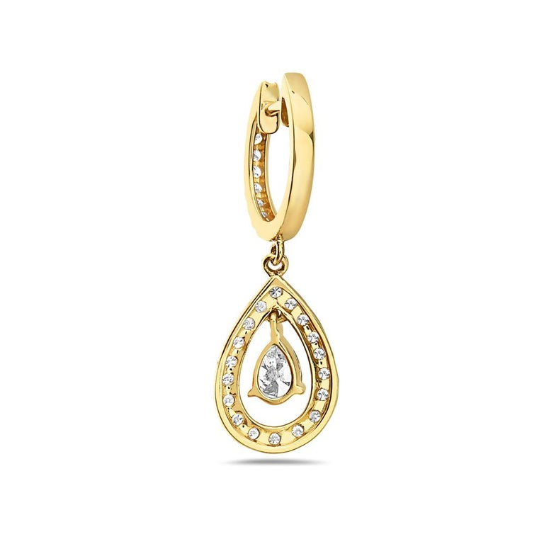 Contemporary 14 Karat Yellow Gold Diamond Pave Hoop Dangle Earrings For Sale
