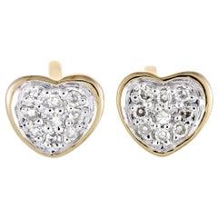 14 Karat Yellow Gold Diamond Pave Small Heart Stud Push Back Earrings