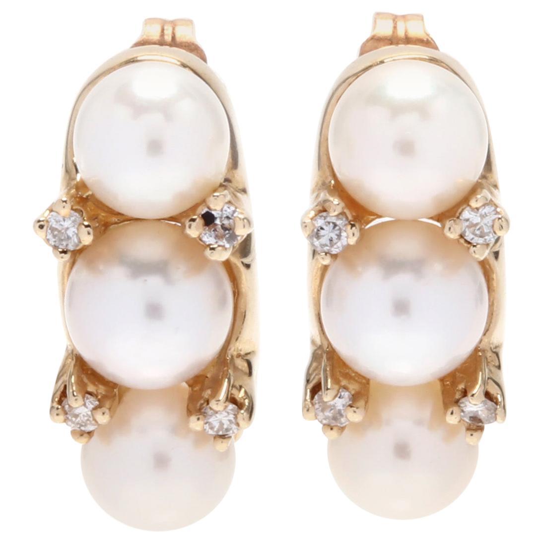14 Karat Yellow Gold, Diamond and Pearl Earrings