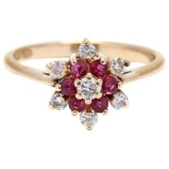 14k Yellow Gold, Diamond & Ruby Cluster Ring