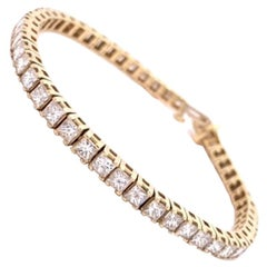 14K Yellow Gold Diamond Tennis Bracelet 7-1/2 Carats