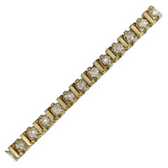 "14 Karat Yellow Gold Diamond ""Tennis"" Bracelet with 3.08 Carat"