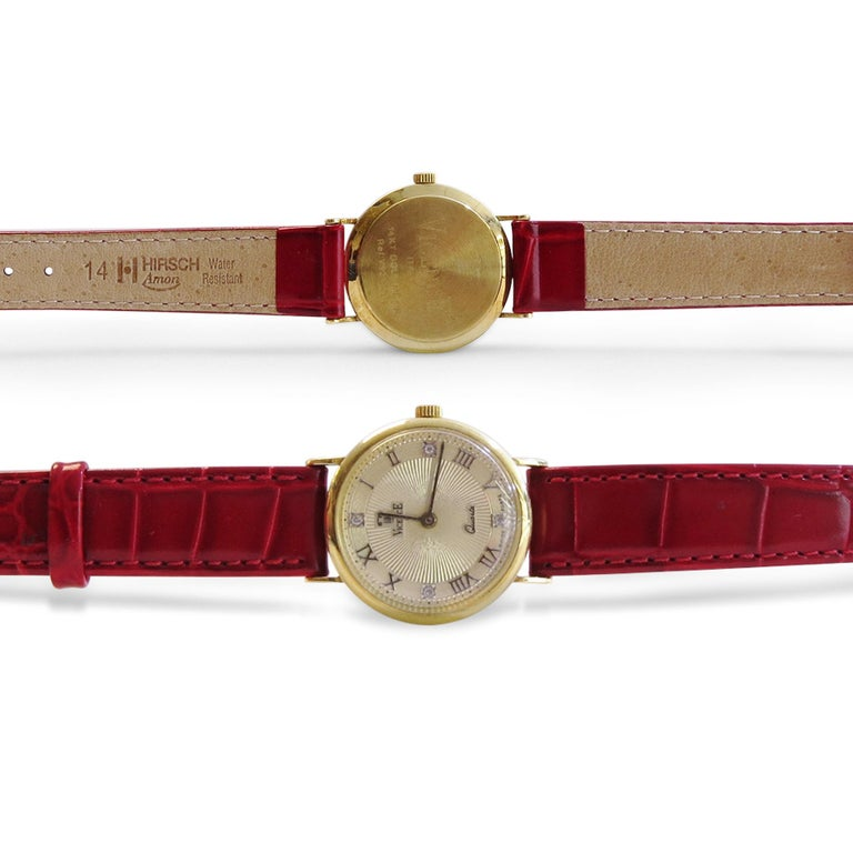 Vicence & Italy  Red Leather Band  Diamond= 0.02ct  DIAL DIAMETER= 26mm