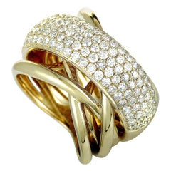14 Karat Yellow Gold Diamond Wide Band Ring