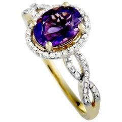 14 Karat Yellow Gold Diamonds and Amethyst Oval Ring