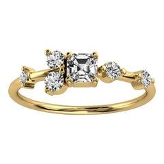 14K Yellow Gold Dorota Delicate Organic Design Diamond Ring '2/5 Ct. tw'