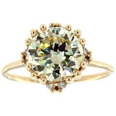14K Yellow Gold Earthy Light Yellow Moissonite and Diamond Ring 'Center 4.84 CT'