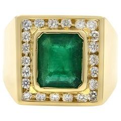14 Karat Yellow Gold Emerald and Diamonds Men's Ring