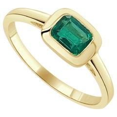 14k Yellow Gold & Emerald-Cut Green Emerald Ring 0.60 CTTW