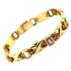 14K Yellow Gold Emerald Cut Multi Color Gemstone Link Bracelet