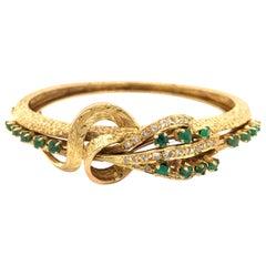 14 Karat Yellow Gold Emerald Diamond Hinged Bangle