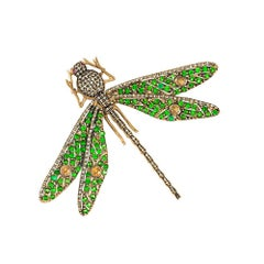 14 Karat Yellow Gold Emerald, Diamonds, Rubies and Citrine Dragonfly Brooch