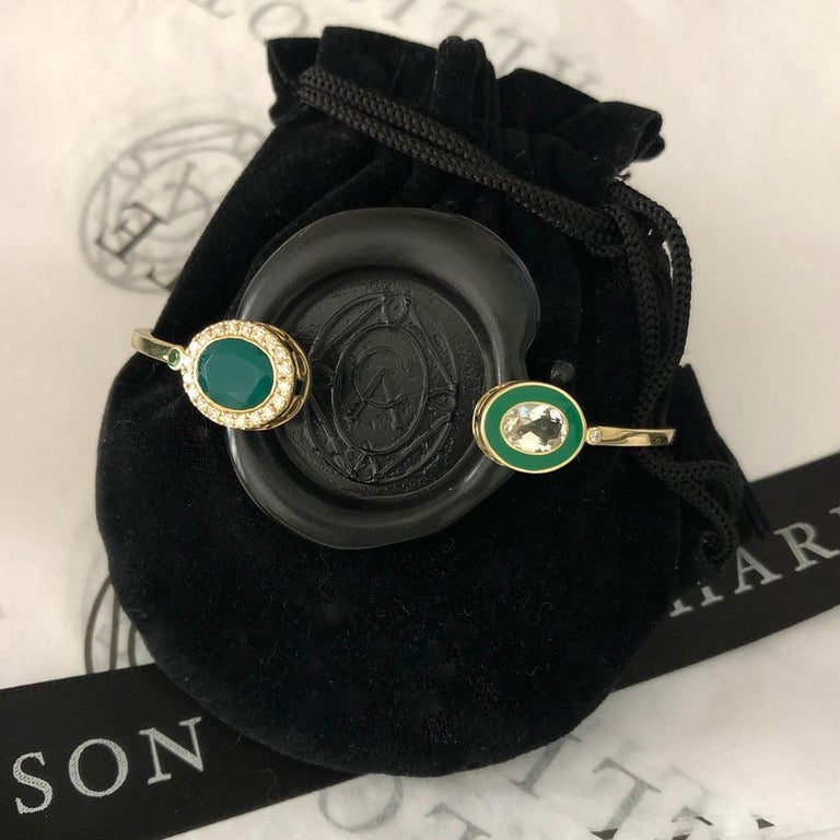 14 Karat Yellow Gold, Enamel, Green Onyx, White Topaz and Diamond Cuff Bracelet In New Condition For Sale In Mountain Brook, AL