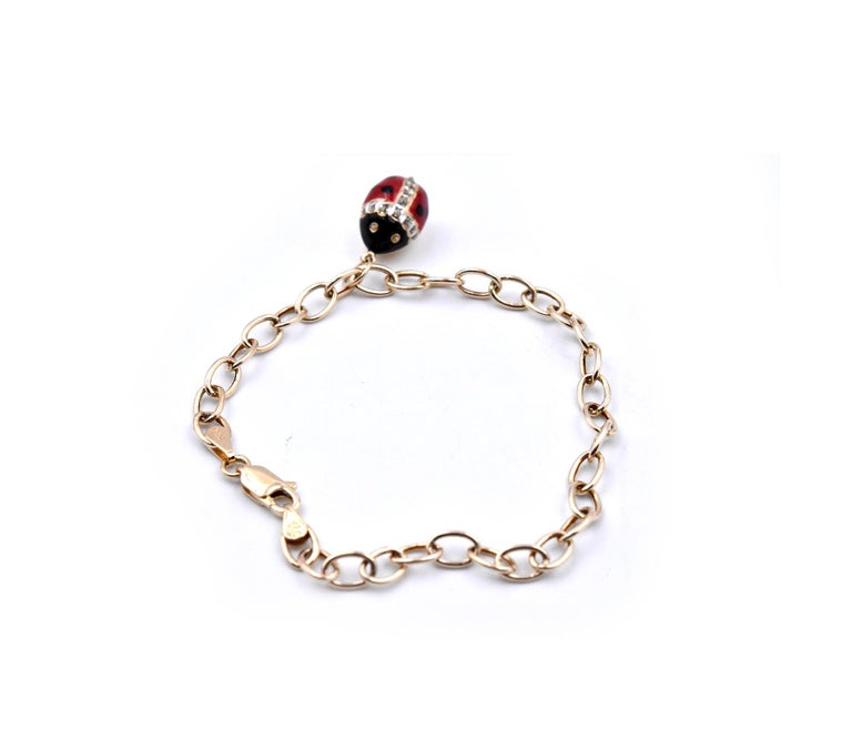 Women's or Men's 14 Karat Yellow Gold Enamel Ladybug Bracelet For Sale