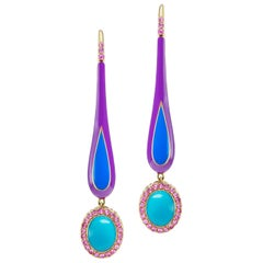 14 Karat Yellow Gold Enamel Turquoise Cabochon and Pink Sapphire Dangle Earrings
