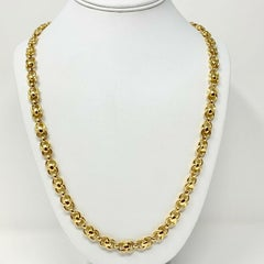 14k Yellow Gold Fancy Modified Cable Link Necklace