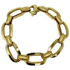 14 Karat Yellow Gold Fancy Oval Link Bracelet