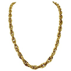 14 Karat Yellow Gold Fancy Polished Textured Cable Link Necklace
