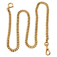 14K Yellow Gold Flat Curb Style Pocket Watch Chain