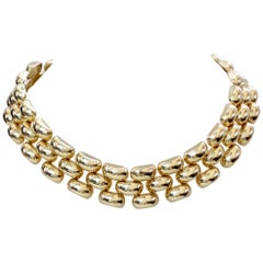 Collar Necklace 14k Yellow Gold Flexible Panther Link