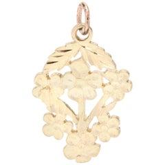14 Karat Yellow Gold Flower Bouquet Charm, Pendant