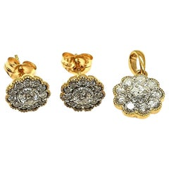 14 Karat Yellow Gold Flower Earring and Pendant Diamonds Approximate 1.00 Carat