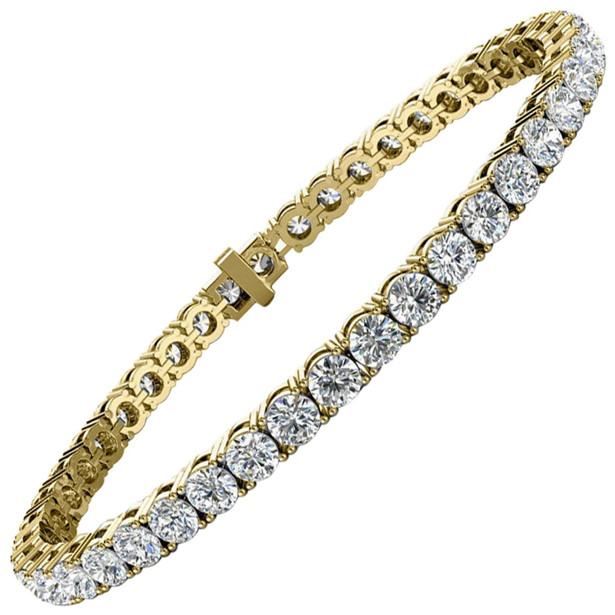 14k Yellow Gold Four Prongs Diamond Tennis Bracelet '8 Ct .tw'