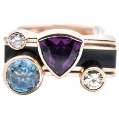 14 Karat Yellow Gold Garnet, Zircon, Diamond and Onyx Geometric Ring