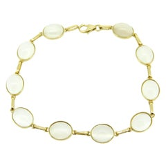 14k Yellow Gold Genuine Natural 23.59ct Moonstone Bracelet '#J4341'