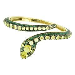 14k Yellow Gold Genuine Natural Peridot Snake Bangle Bracelet '#J4469'