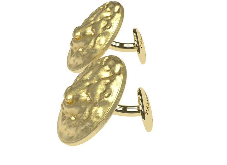 Contemporary 14 Karat Yellow Gold GIA Diamond Lion Cufflinks For Sale