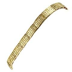 14 Karat Yellow Gold Greek Key Link Chain Bracelet