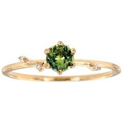 14K Yellow Gold Green Sapphire Rustic Vintage Diamond Ring 'Center-1/3 Carat'