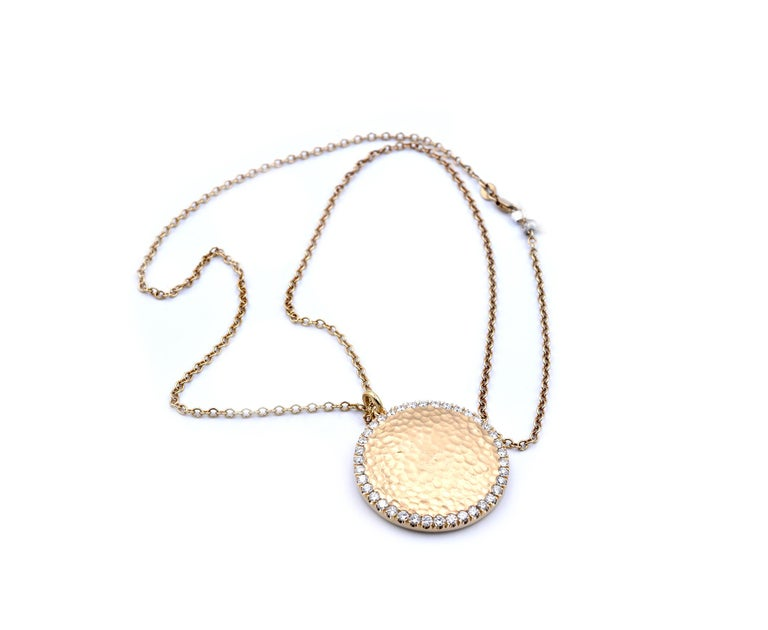 Round Cut 14 Karat Yellow Gold Hammered Diamond Disc Necklace For Sale