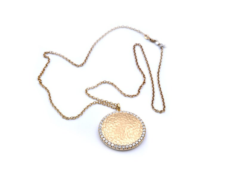 14 Karat Yellow Gold Hammered Diamond Disc Necklace In Excellent Condition For Sale In Scottsdale, AZ