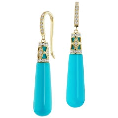 14 Karat Yellow Gold Hand Shaped Turquoise and Diamond Dangle Earrings